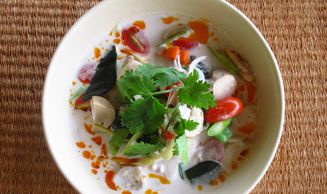 Vegan Tom Kha Pak at organic restaurant Thailand