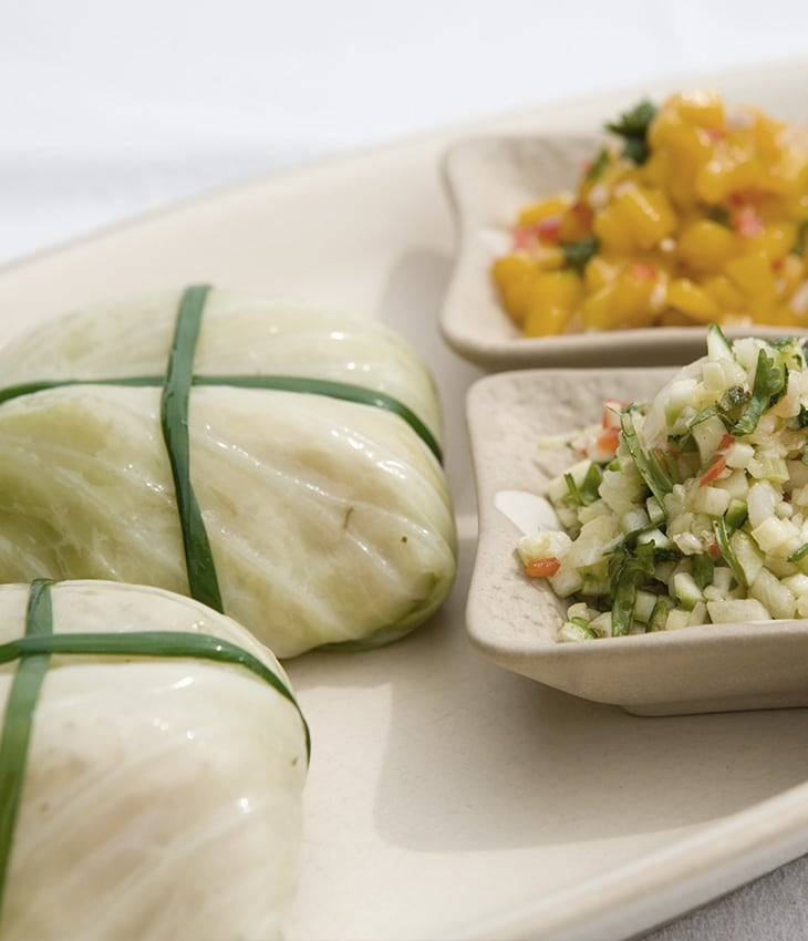 Cabbage Roll with Tahini Dip